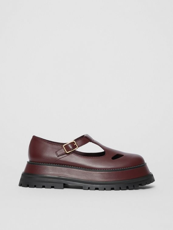Leather T-bar Shoes in Bordeaux