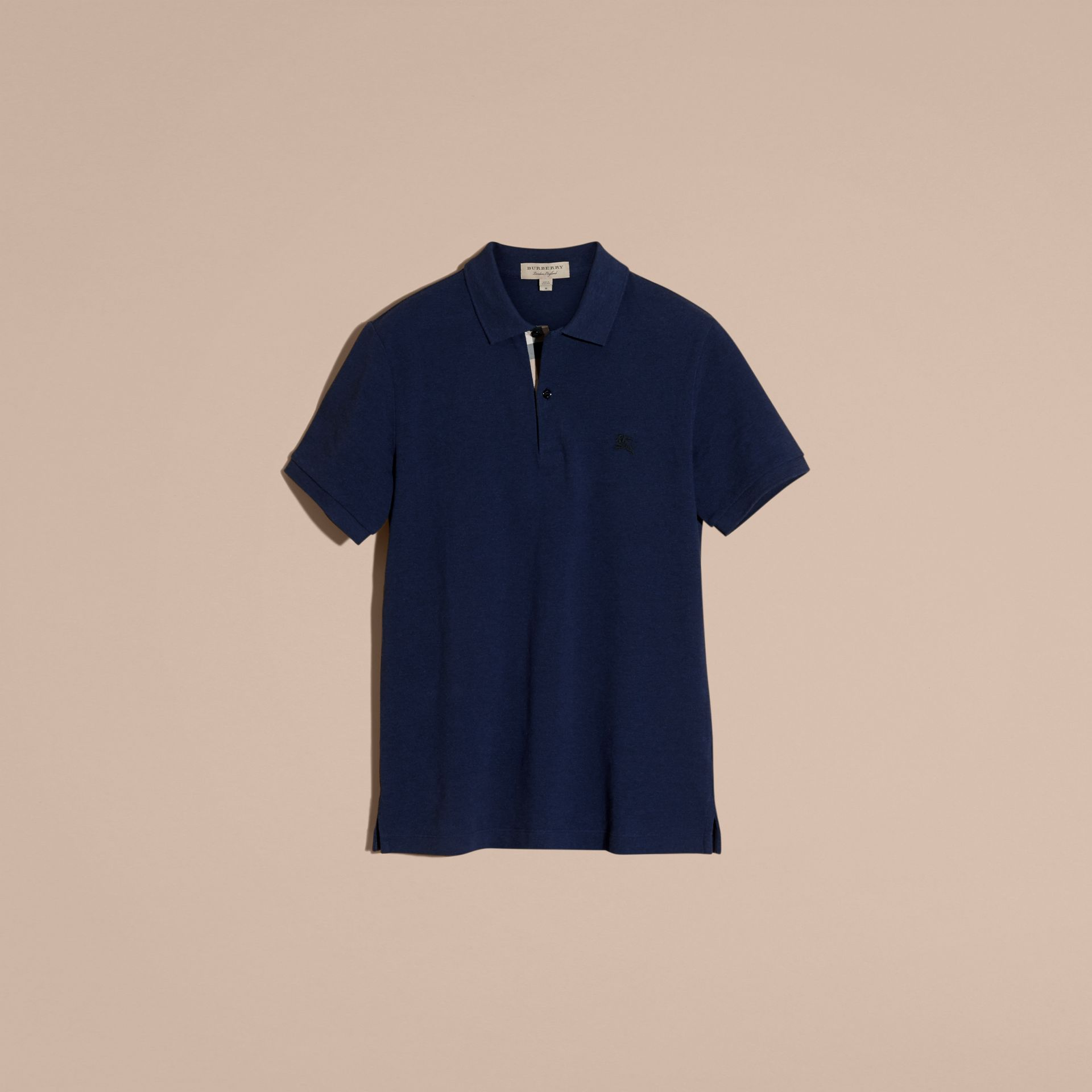 Navy melange Check Placket Cotton Piqué Polo Shirt Navy Melange - gallery image 4