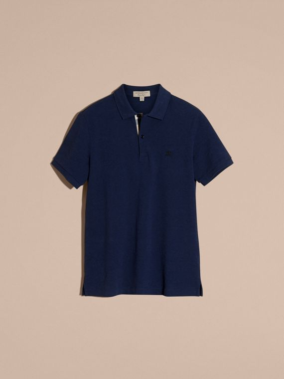 Navy melange Check Placket Cotton Piqué Polo Shirt Navy Melange - cell image 3
