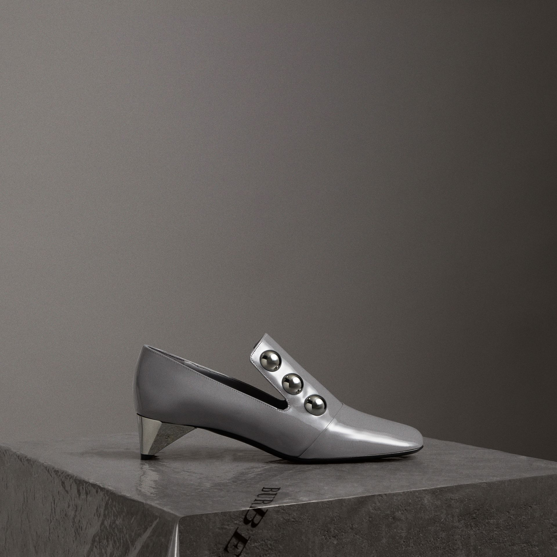 Stud Detail Patent Leather Pumps in Mid Grey - Women | Burberry Australia - gallery image 0