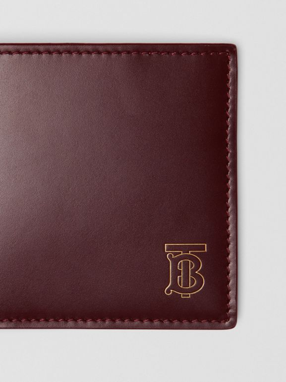 Monogram Motif Leather International Bifold Wallet in Oxblood - Men | Burberry Australia - cell image 1