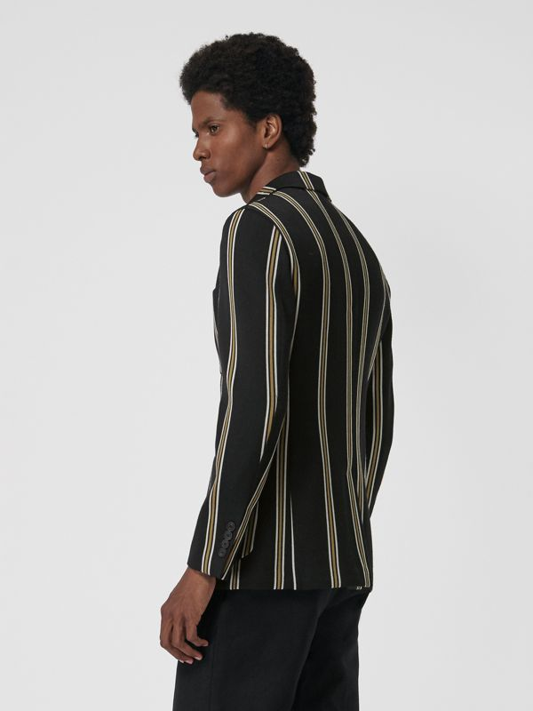 Slim fit Striped Wool Blend Club Blazer in Black - Men | Burberry - cell image 2