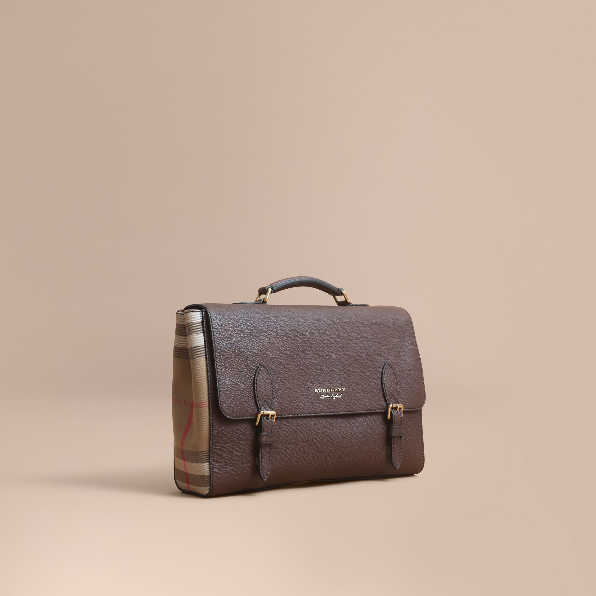 Leather and House Check Satchel in Oak Brown - Men | Burberry Australia - gallery image 1