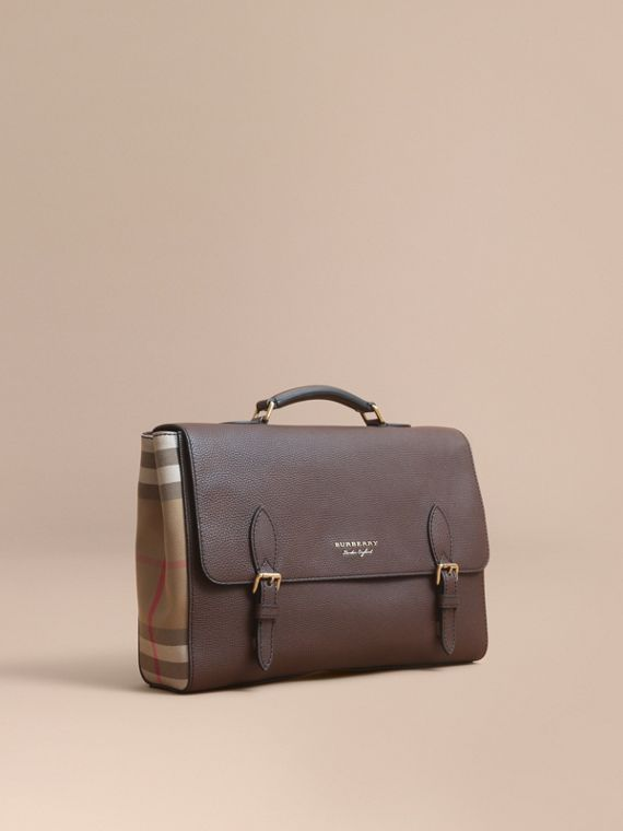 Leather and House Check Satchel in Oak Brown - Men | Burberry