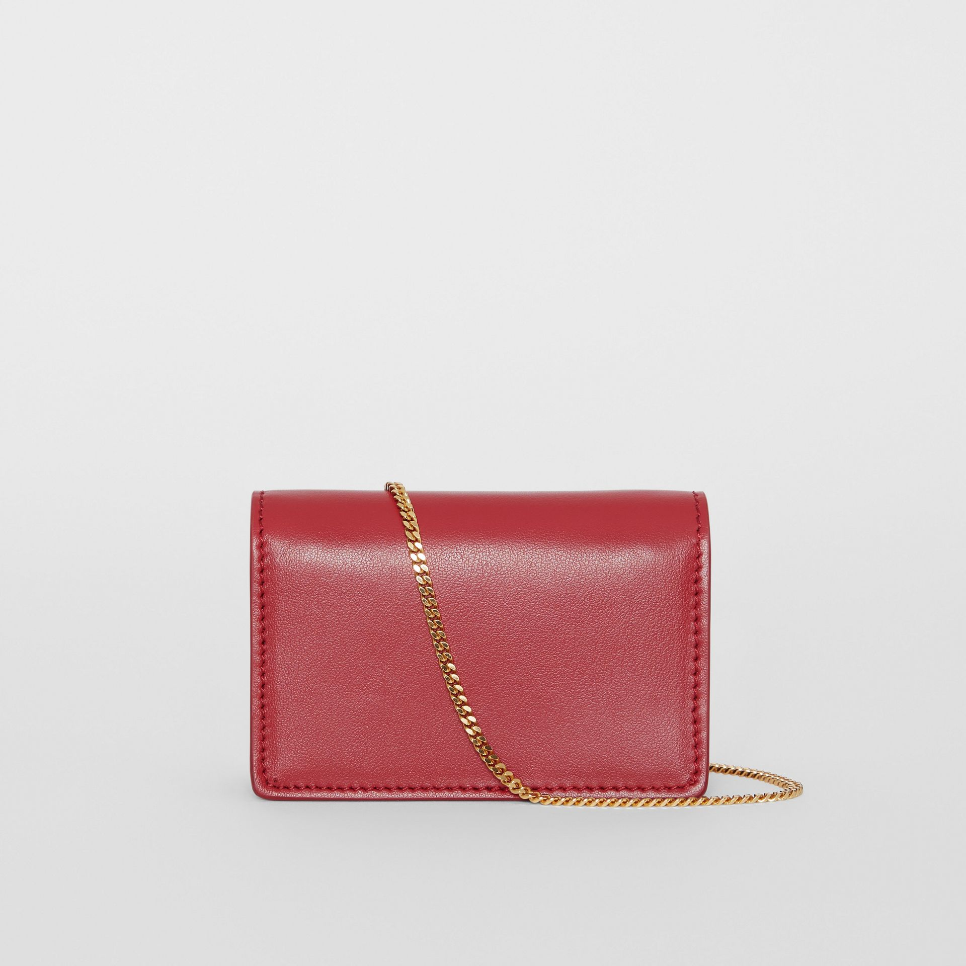 Leather Card Case with Detachable Strap in Crimson | Burberry - gallery image 7