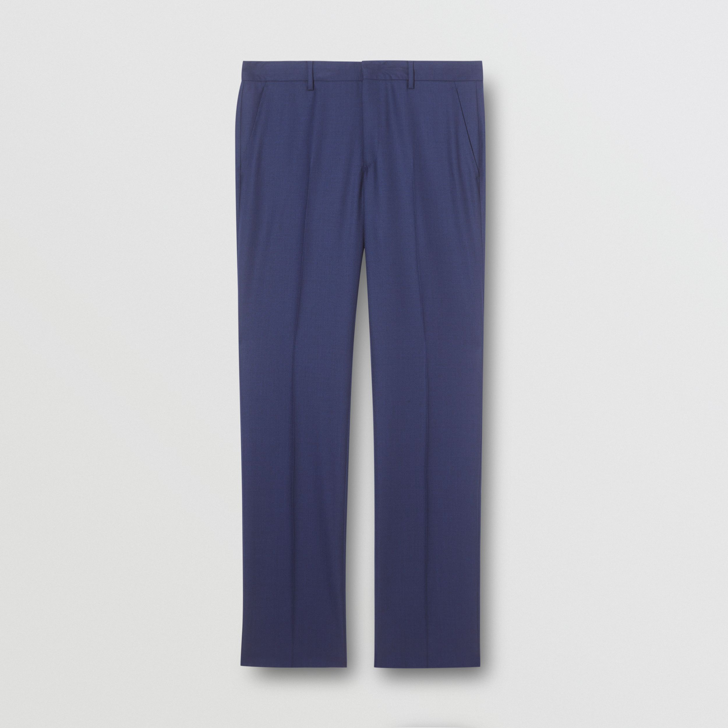 Classic Fit Birdseye Wool Tailored Trousers in Bright Navy - Men | Burberry - 4