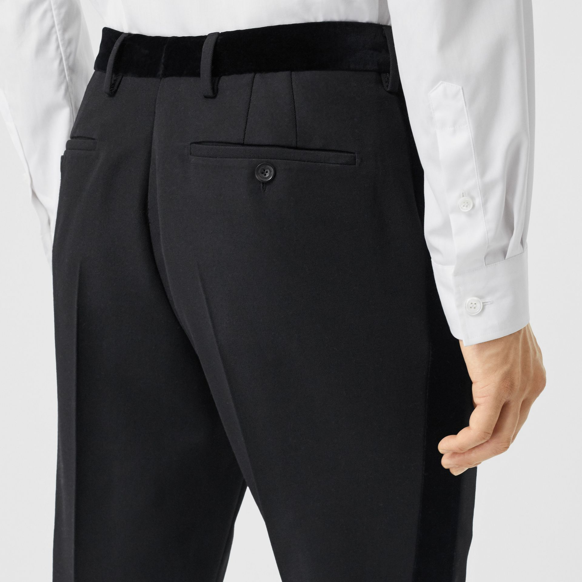 Classic Fit Velvet Trim Wool Tailored Trousers in Black - Men | Burberry - gallery image 1