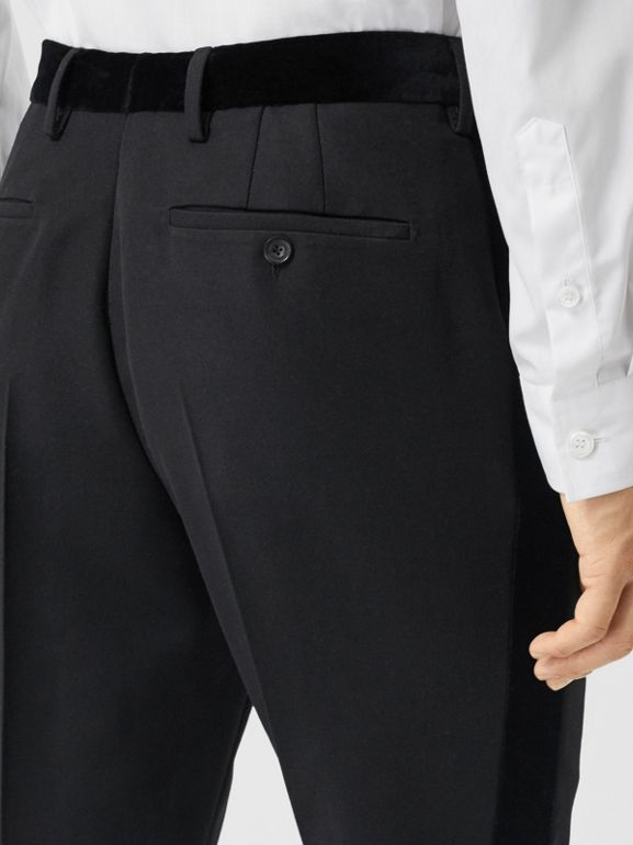 Classic Fit Velvet Trim Wool Tailored Trousers in Black - Men | Burberry - cell image 1