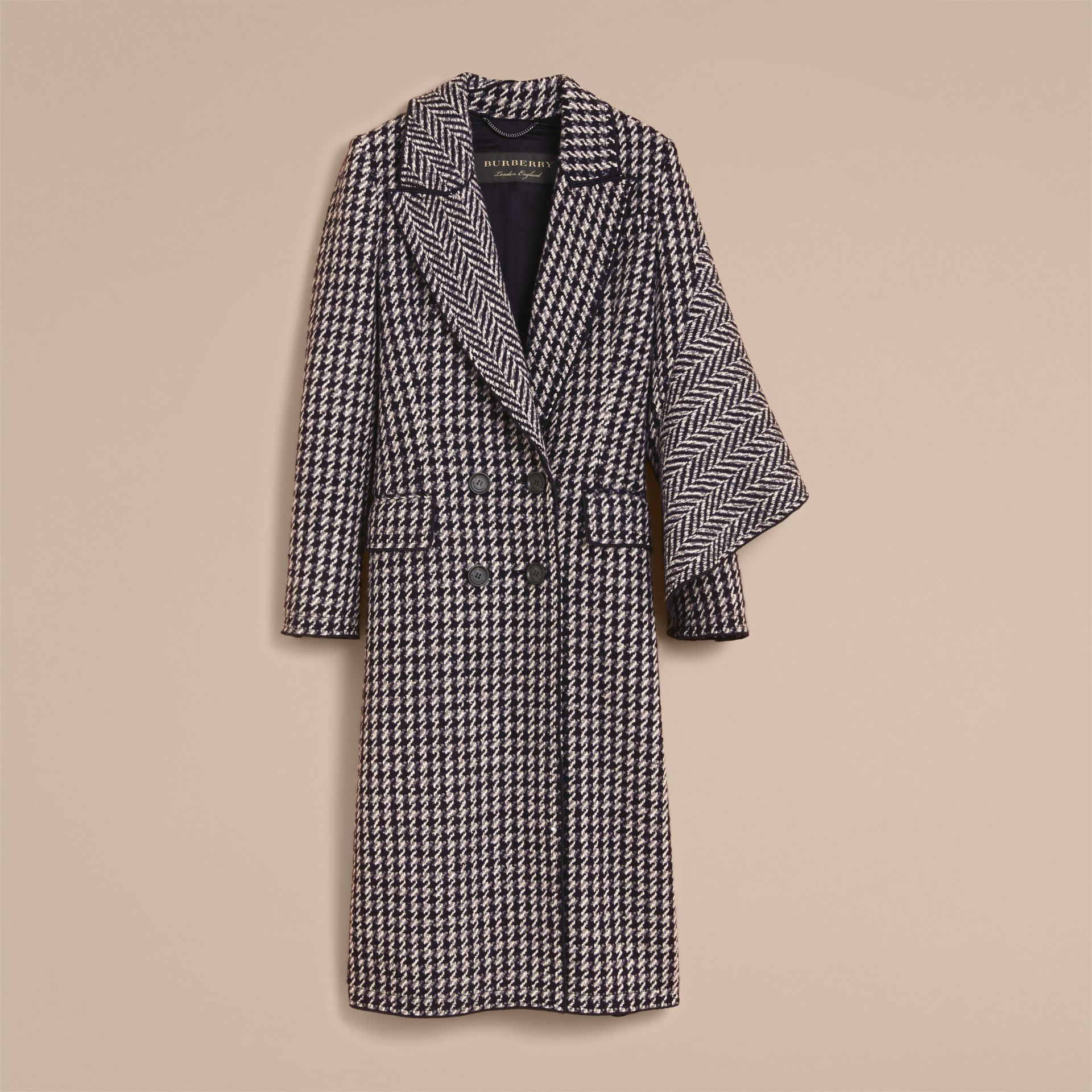 Sculptural Panel Houndstooth Wool A-line Coat - gallery image 4