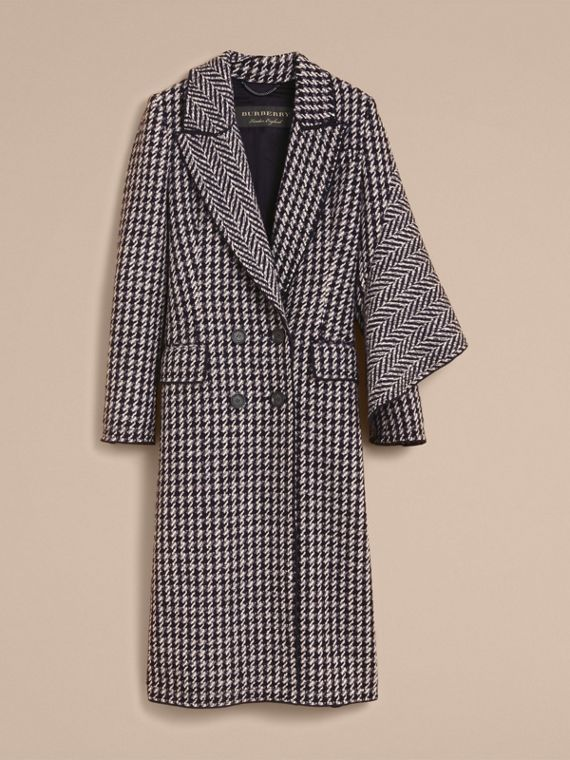 Sculptural Panel Houndstooth Wool A-line Coat - cell image 3