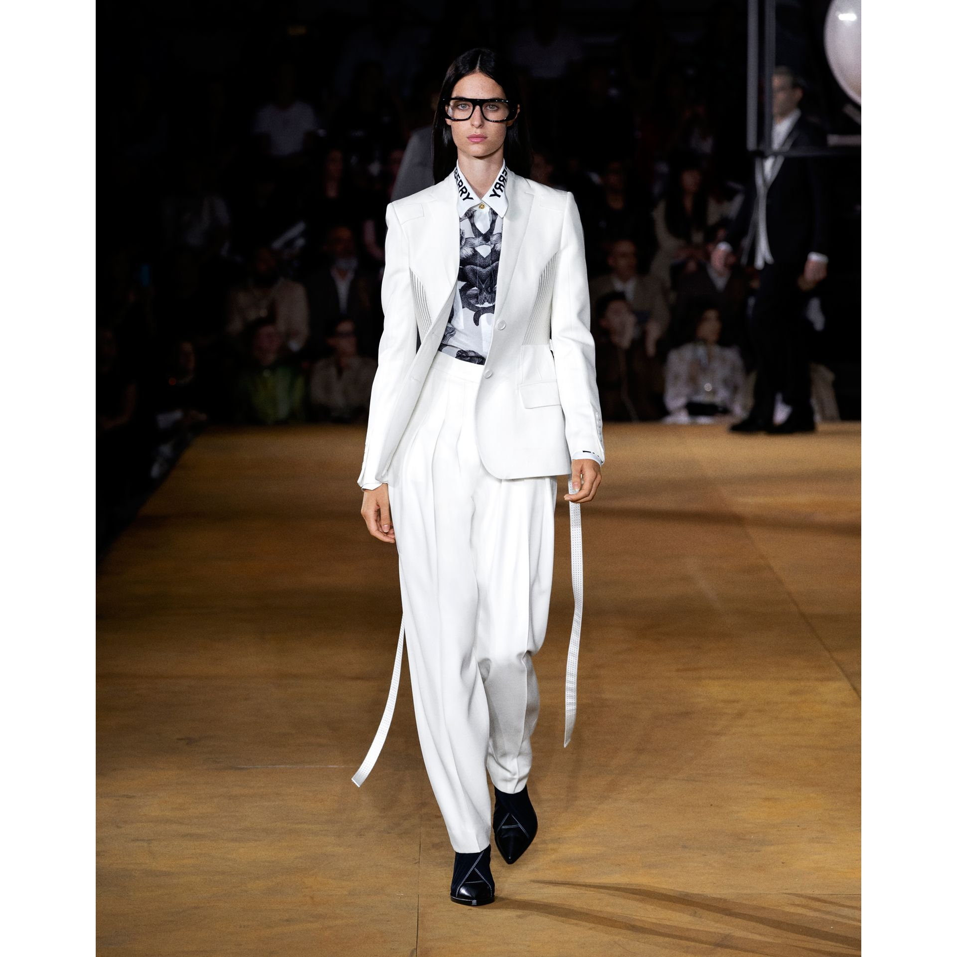 Montage Print Silk Shirt in Monochrome | Burberry - gallery image 7