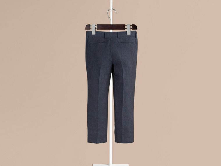 Navy Tailored Linen Tuxedo Trousers - cell image 1