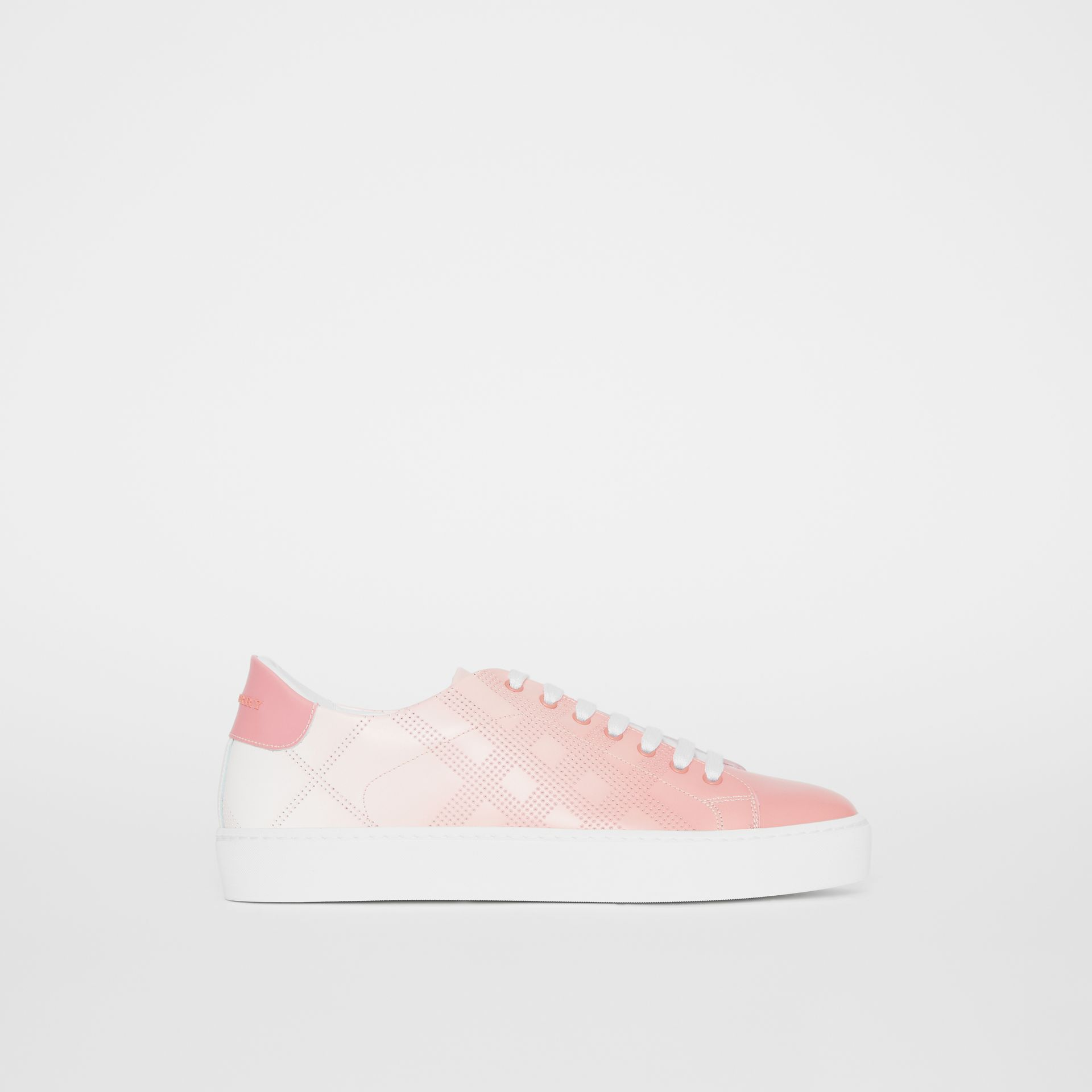 Perforated Check Dégradé Leather Sneakers in Sugar Pink - Women | Burberry - gallery image 6