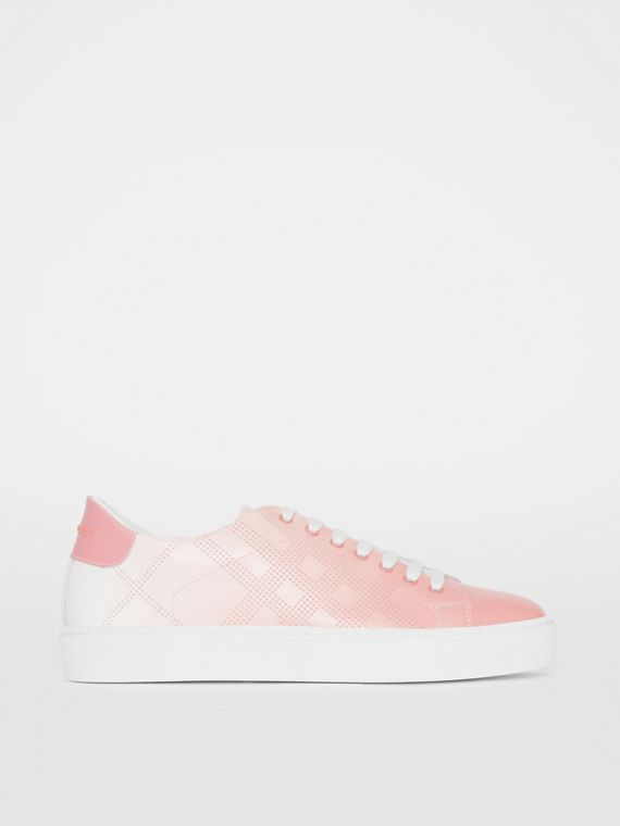 Perforated Check Dégradé Leather Sneakers in Sugar Pink