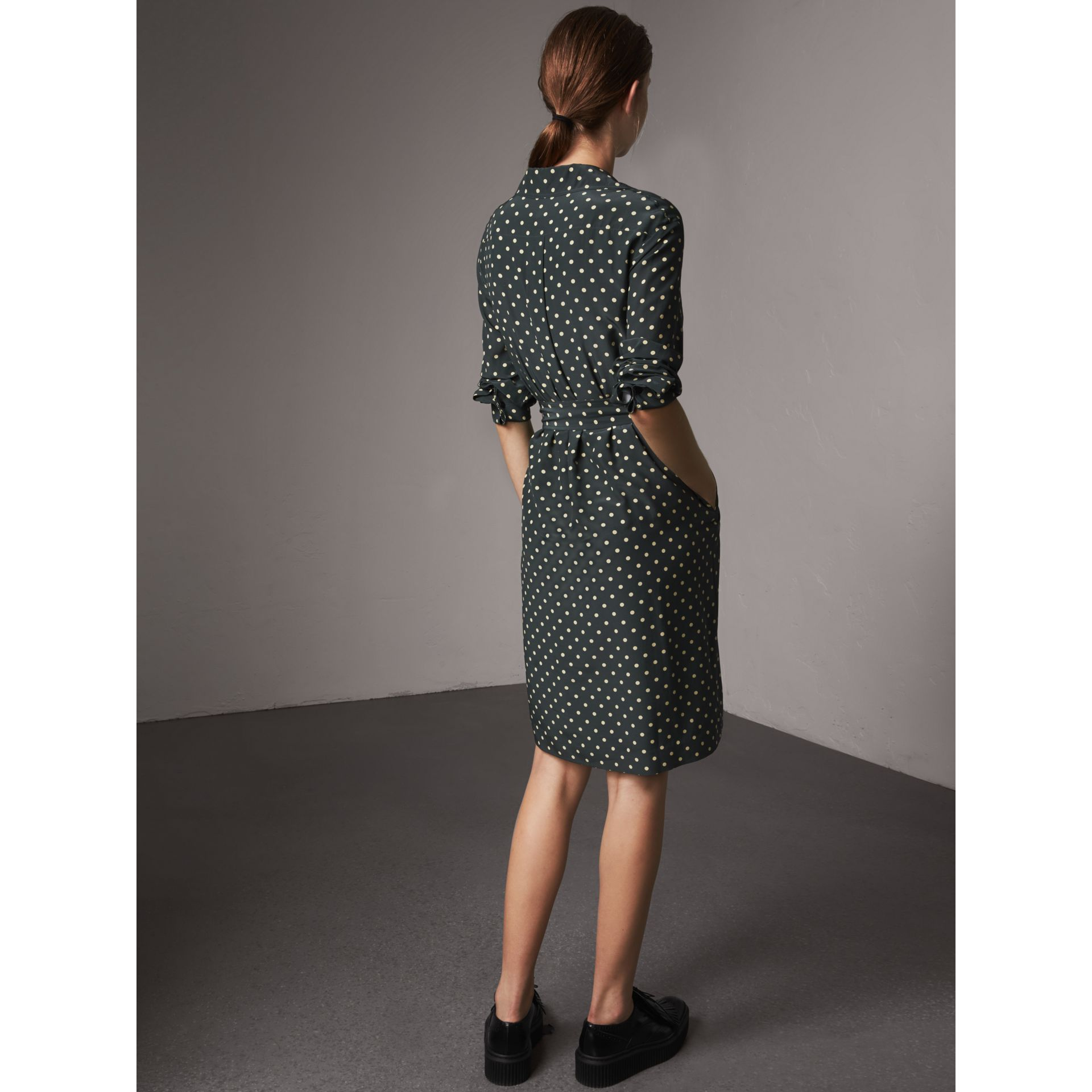 Polka-dot Silk Wrap Dress in Racing Green - Women | Burberry - gallery image 3