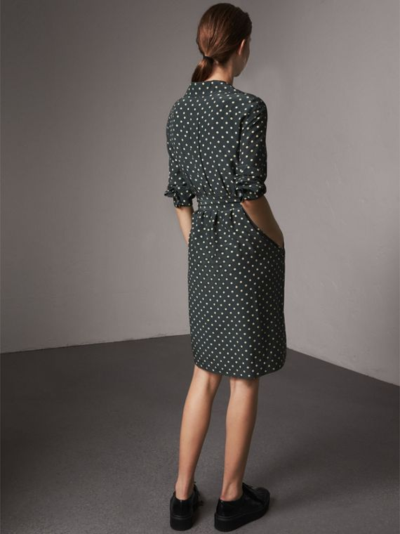 Polka-dot Silk Wrap Dress in Racing Green - Women | Burberry - cell image 2