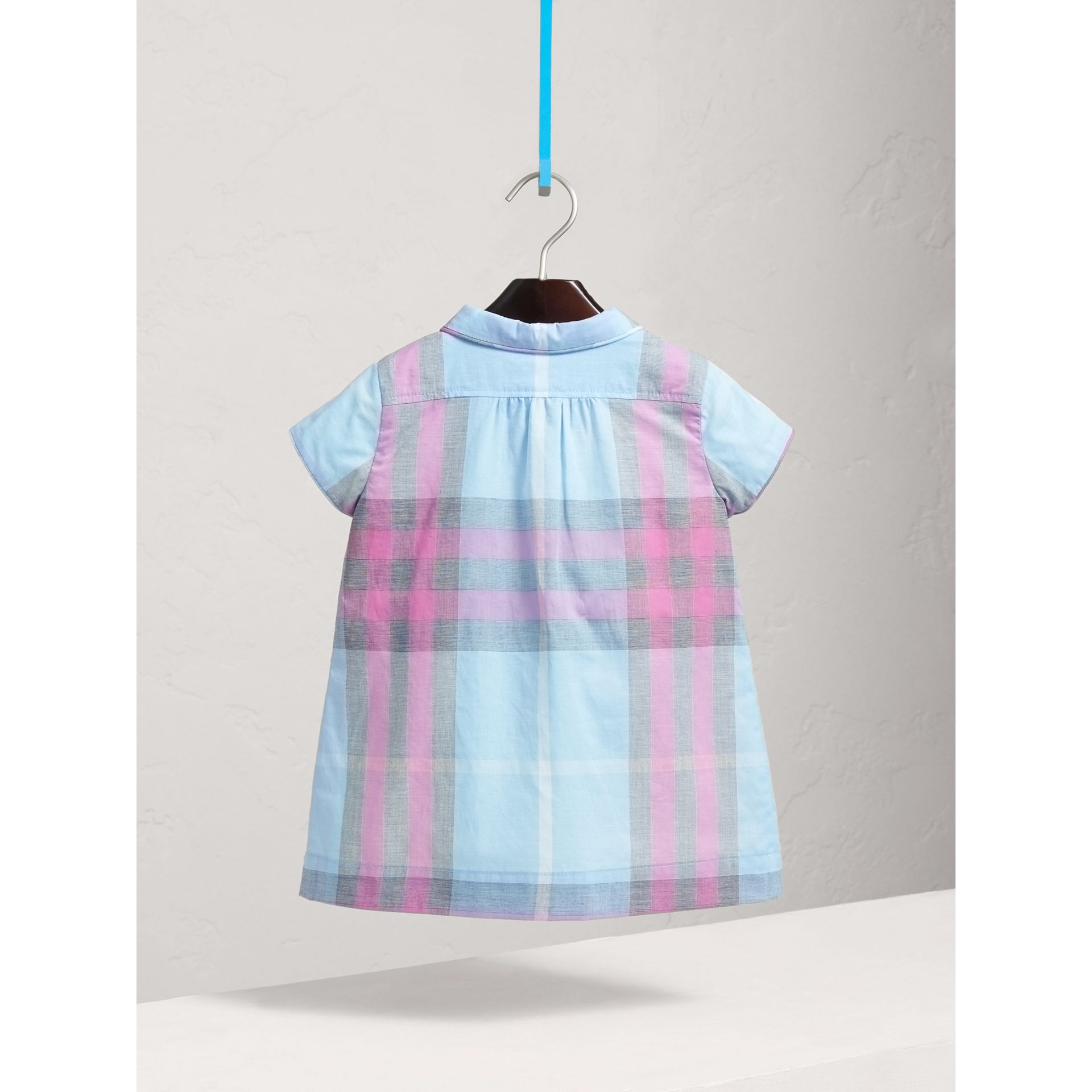 Pleated Bib Check Cotton Dress in Chalk Blue | Burberry - gallery image 3
