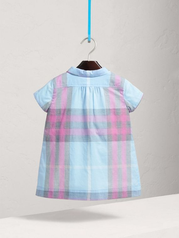 Pleated Bib Check Cotton Dress in Chalk Blue | Burberry - cell image 3