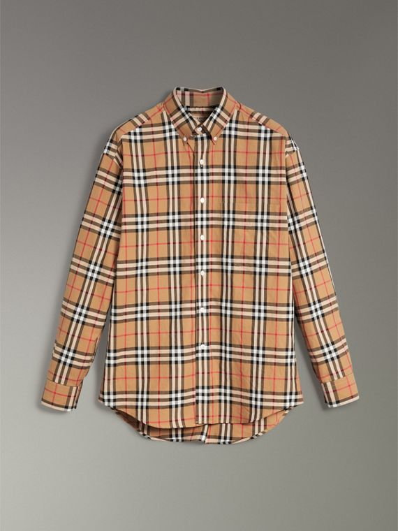 Button-down Collar Vintage Check Cotton Shirt in Antique Yellow - Men | Burberry Australia - cell image 3