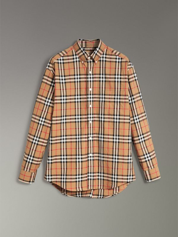 Button-down Collar Vintage Check Cotton Shirt in Antique Yellow - Men | Burberry - cell image 3