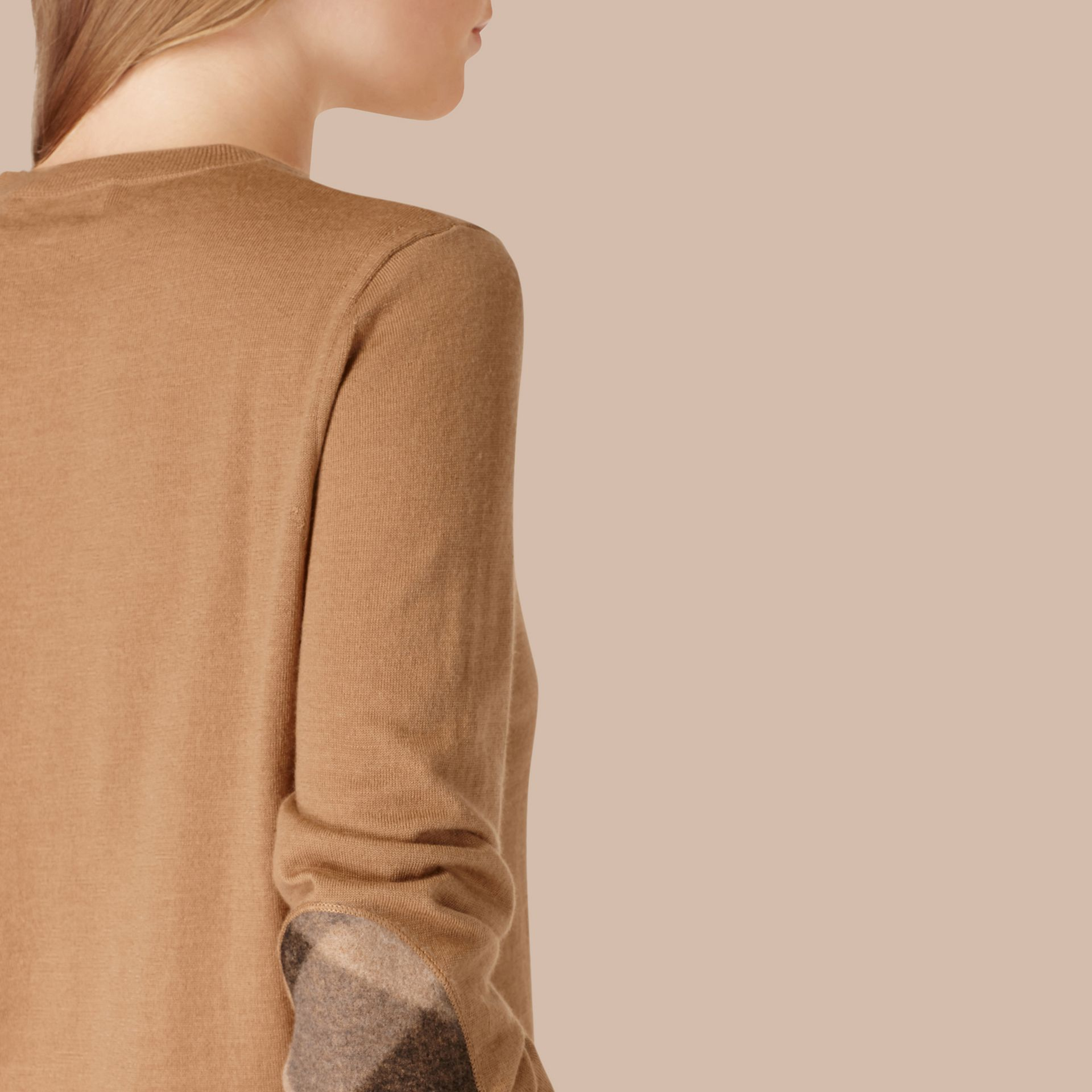 Check Detail Merino Wool Crew Neck Sweater Camel - gallery image 4