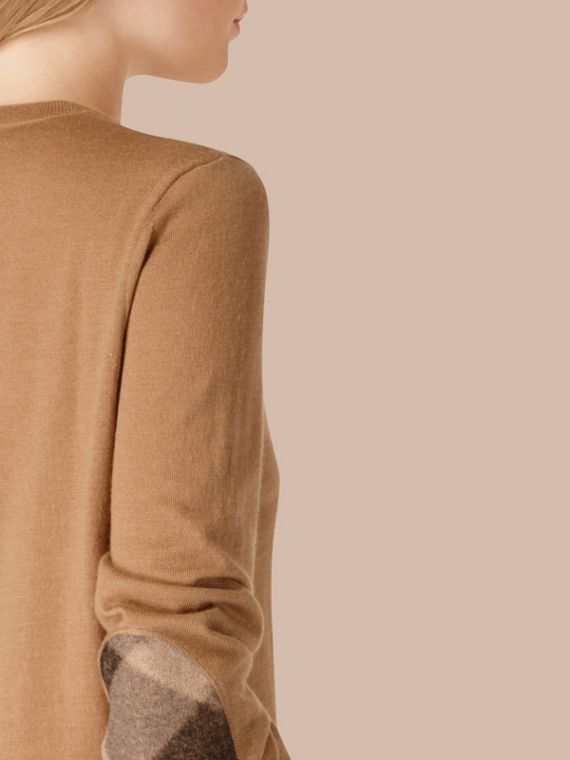 Check Detail Merino Wool Crew Neck Sweater Camel - cell image 3