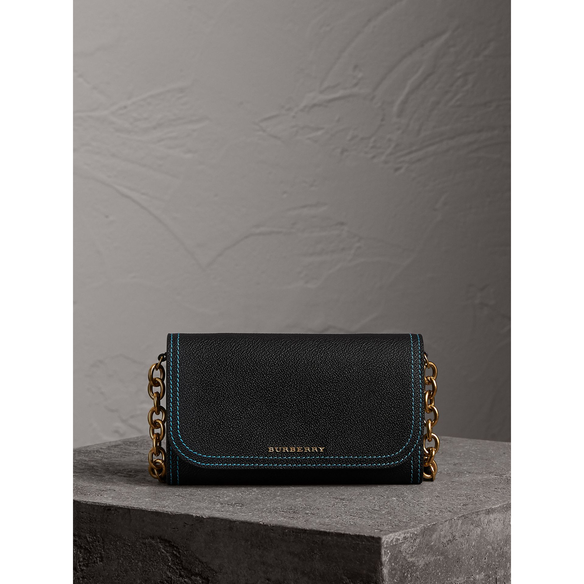 Topstitch Detail Leather Wallet with Detachable Strap in Black/multicolour - Women | Burberry Australia - gallery image 6
