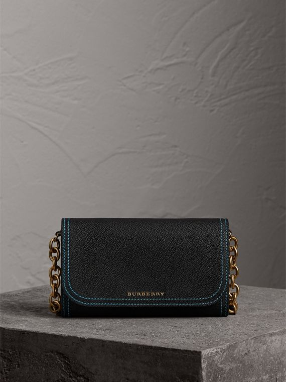 Topstitch Detail Leather Wallet with Detachable Strap in Black/multicolour