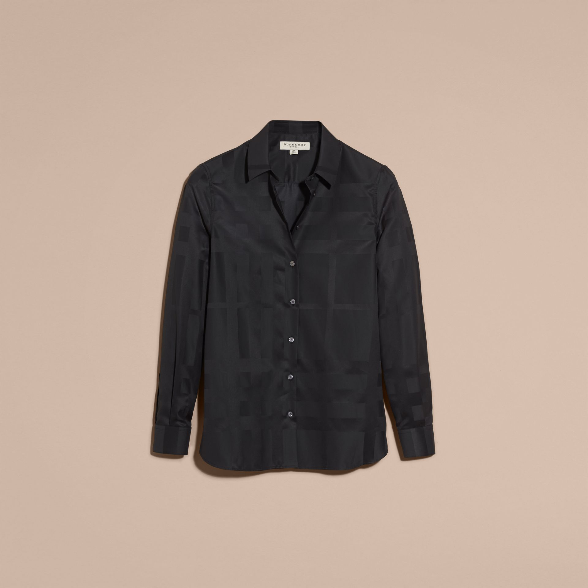 Check Jacquard Cotton Shirt in Black - Women | Burberry Australia - gallery image 4