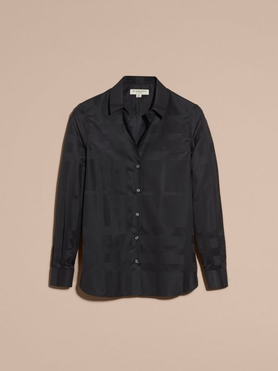 Check Jacquard Cotton Shirt in Black - Women | Burberry Australia - cell image 3
