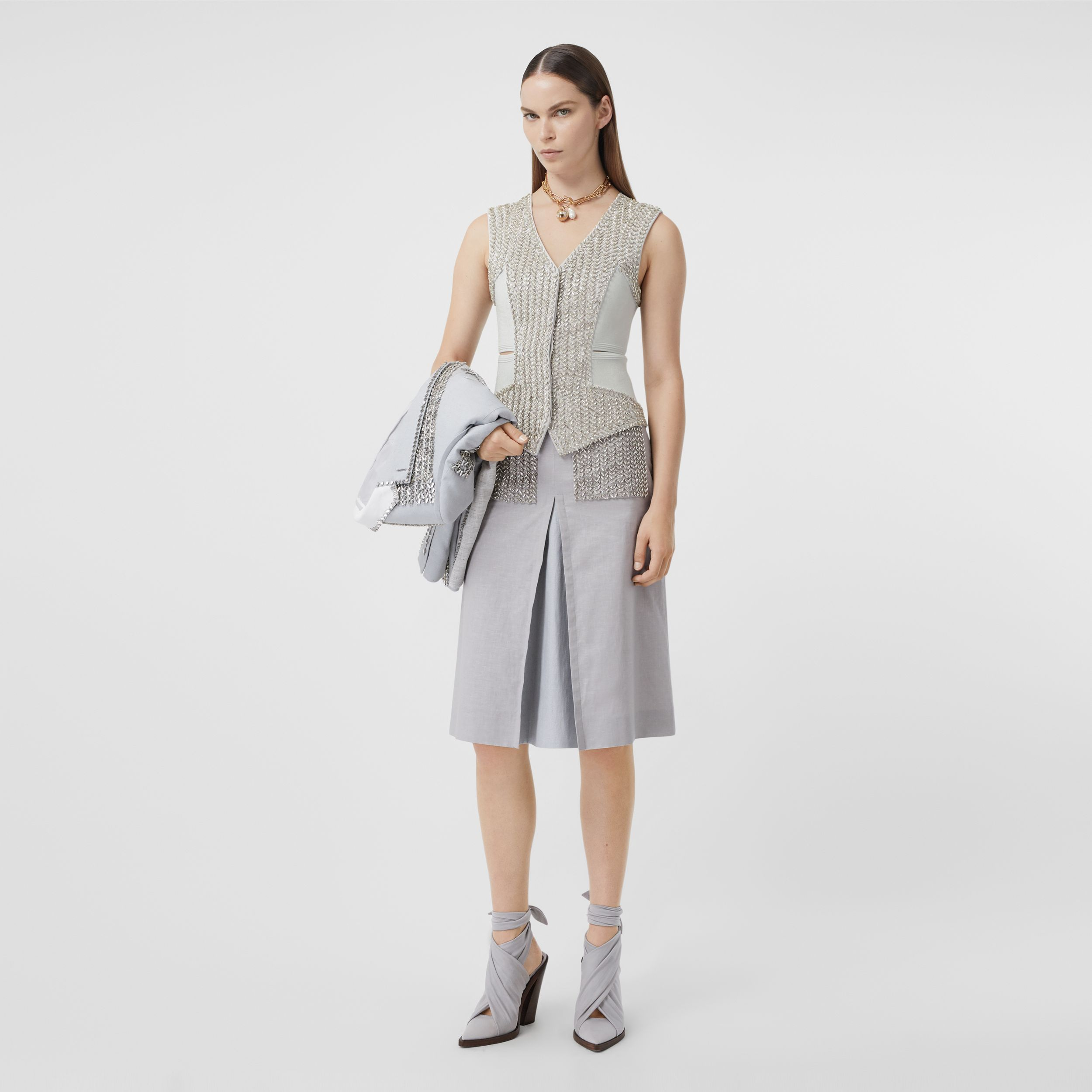Crystal Embroidered Mohair Wool Cut-out Waistcoat in Light Pebble Grey - Women | Burberry - 1