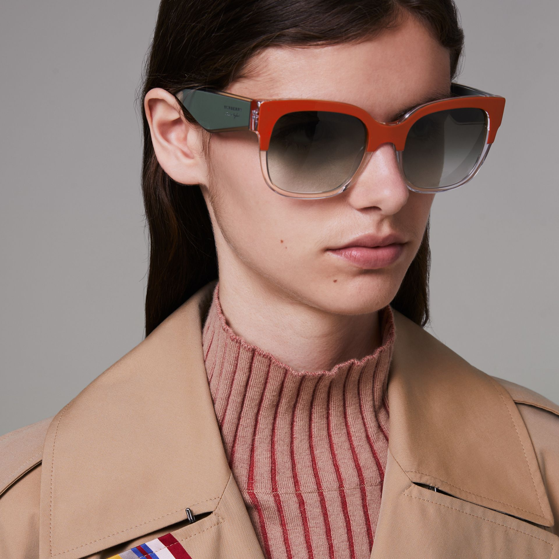 Two-tone Oversize Square Frame Sunglasses in Orange - Women | Burberry Singapore - gallery image 2