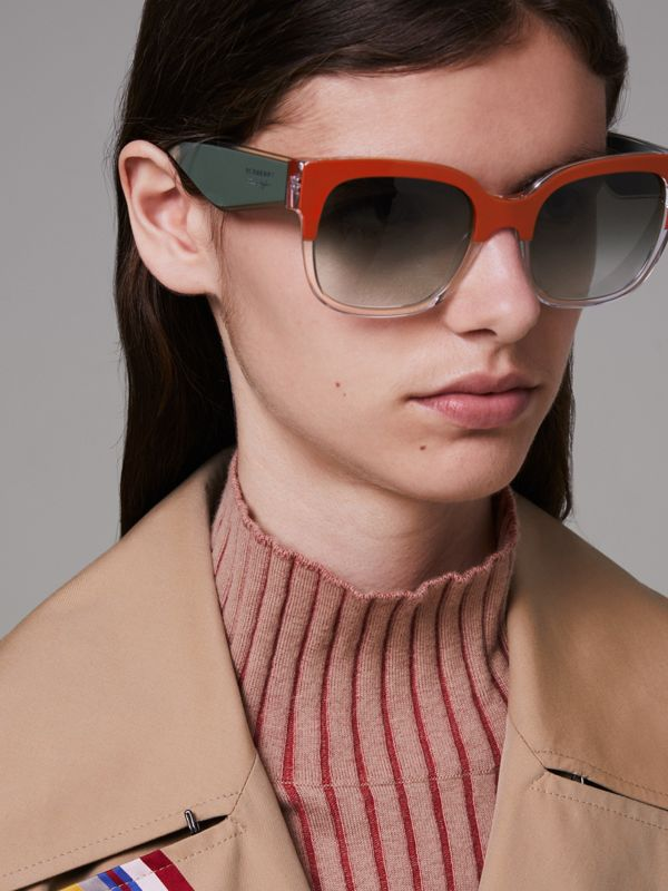 Two-tone Oversize Square Frame Sunglasses in Orange - Women | Burberry Singapore - cell image 2