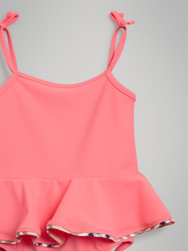 Ruffle Detail One-piece Swimsuit in Bright Coral - Children | Burberry - cell image 3