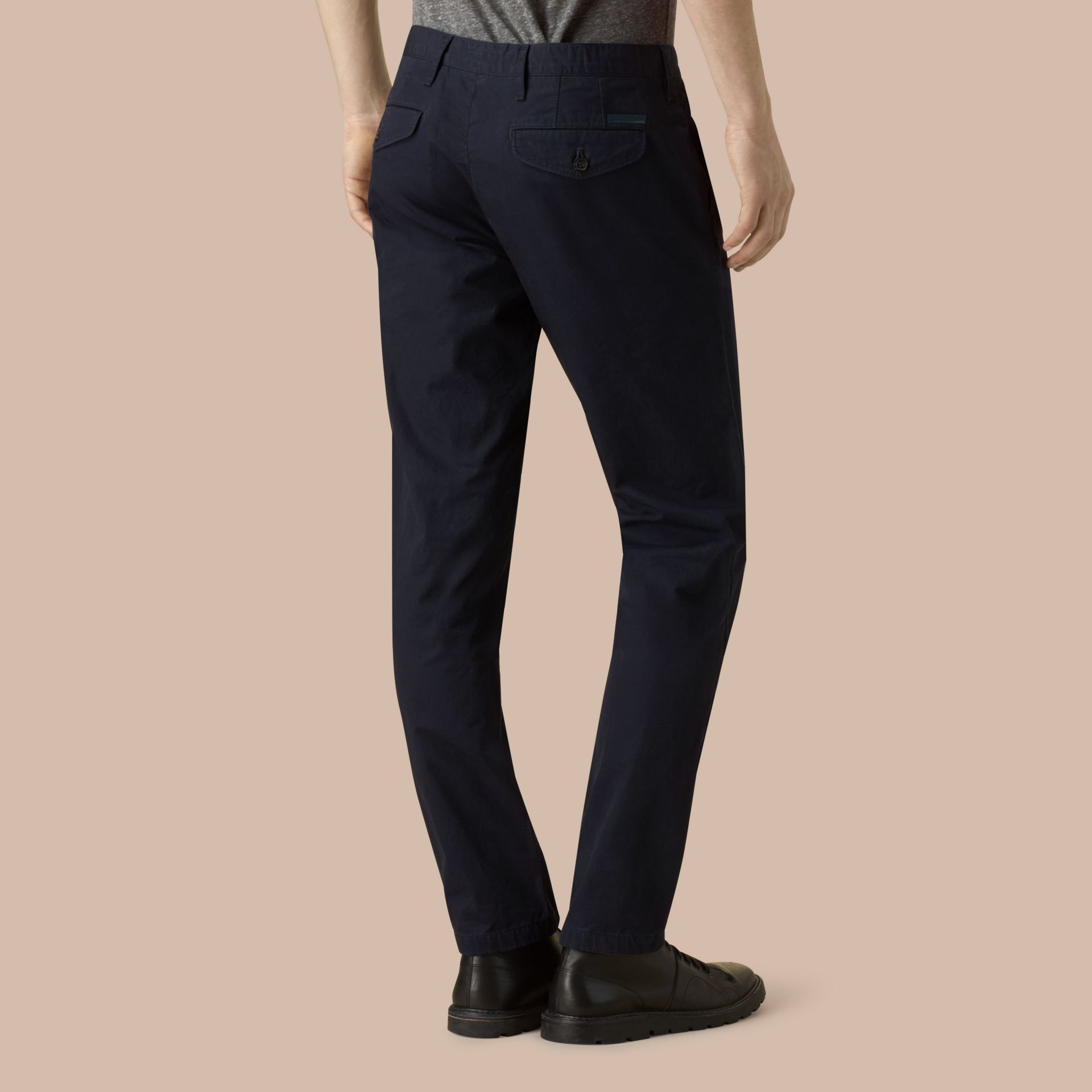 Slim Fit Cotton Chinos in Ink - Men | Burberry - gallery image 4
