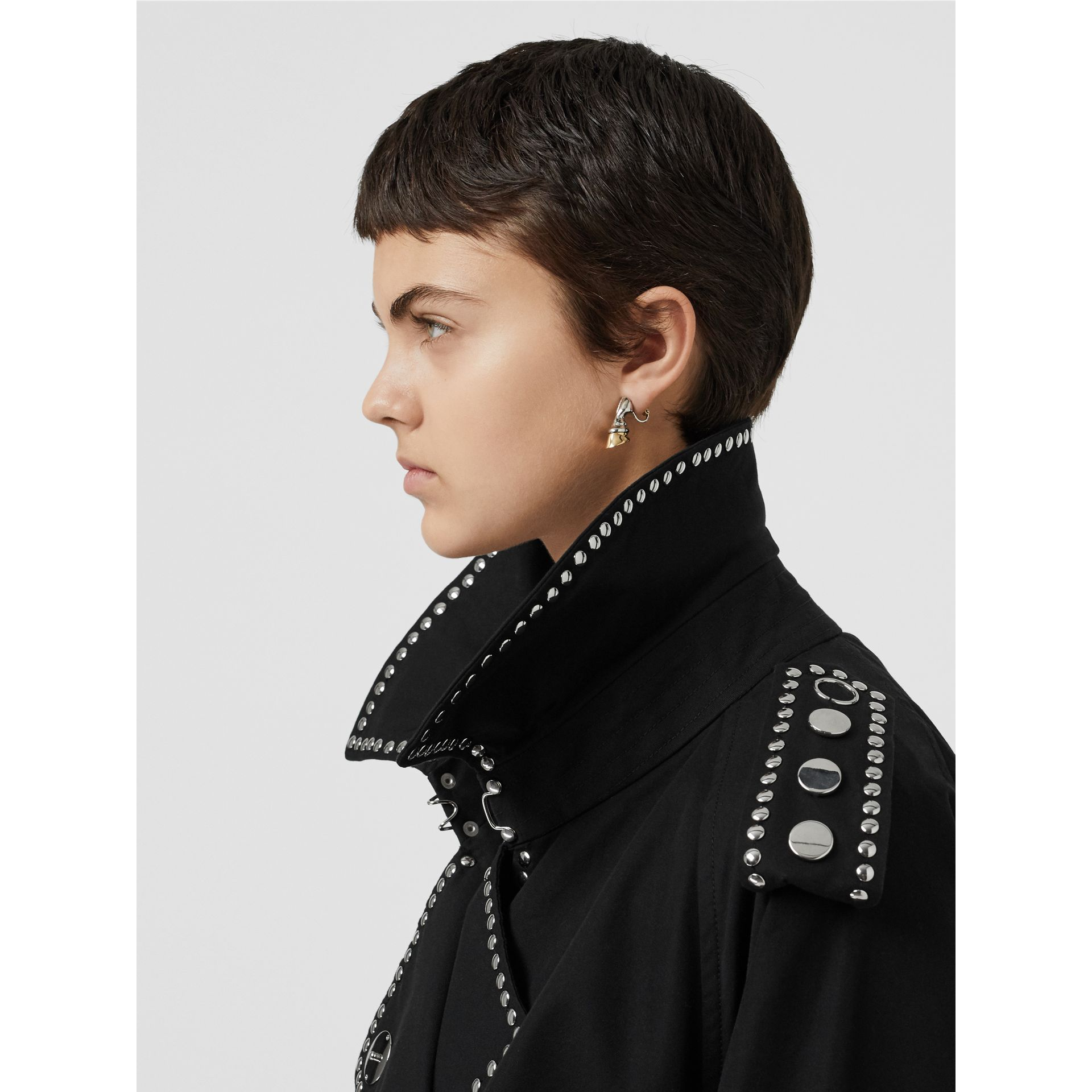 Lambskin Detail Studded Cotton Gabardine Trench Coat in Black - Women | Burberry Canada - gallery image 4