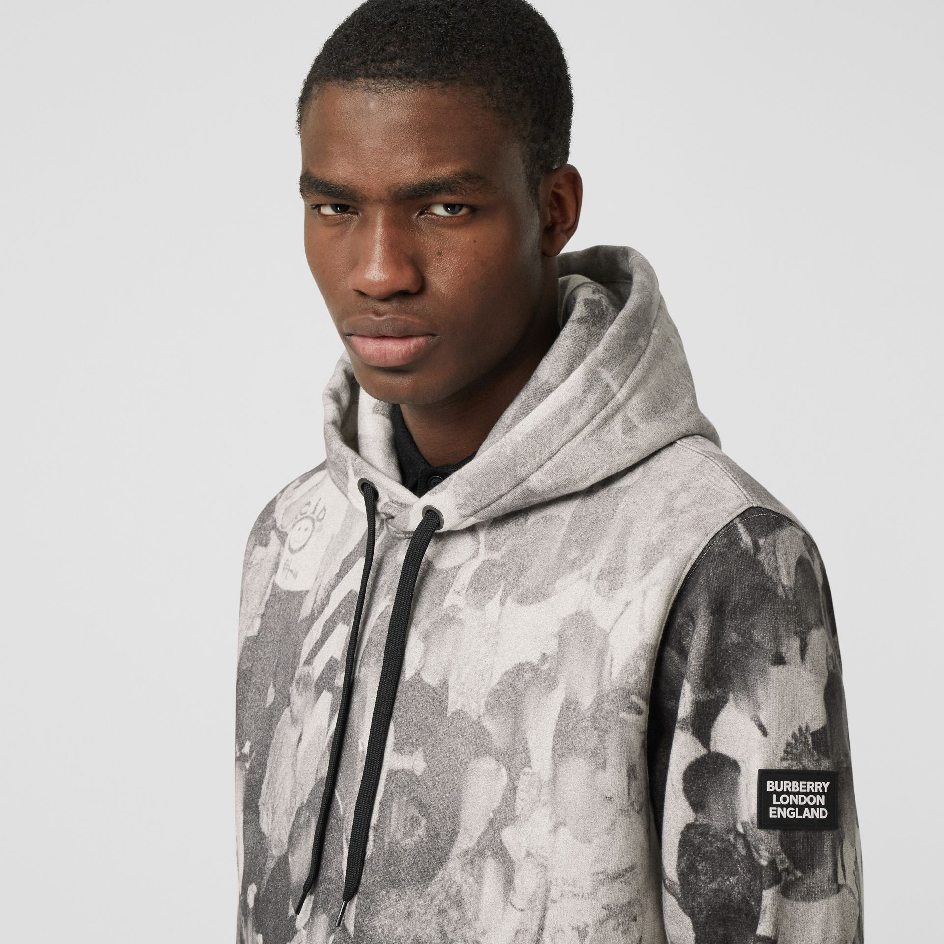 Rave Print Cotton Hoodie in Monochrome - Men | Burberry - gallery image 1