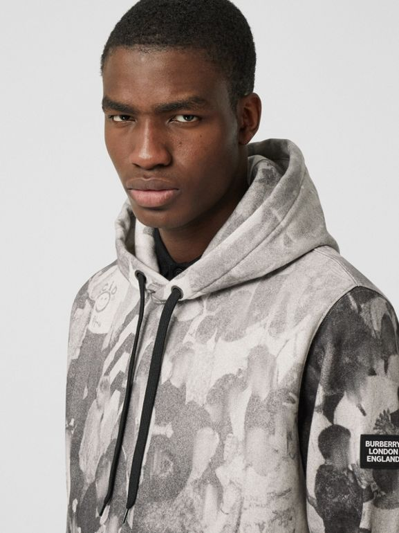 Rave Print Cotton Hoodie in Monochrome - Men | Burberry - cell image 1