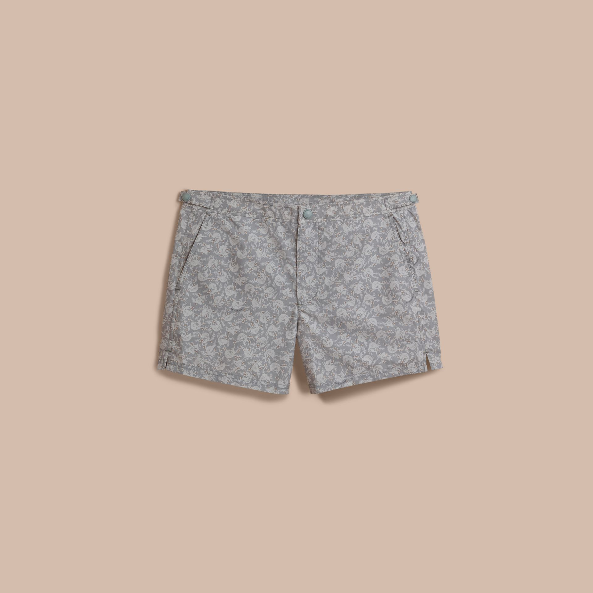 Leaf Print Swim Shorts in Blue Grey - Men | Burberry - gallery image 0