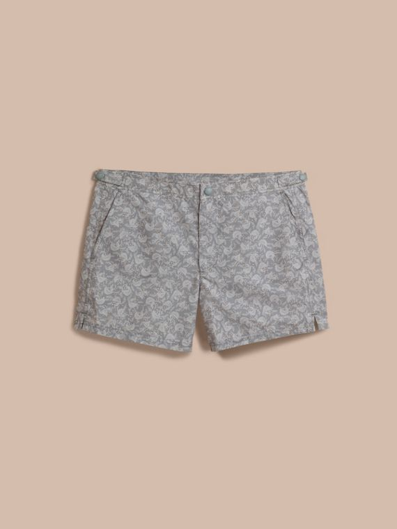 Leaf Print Swim Shorts in Blue Grey