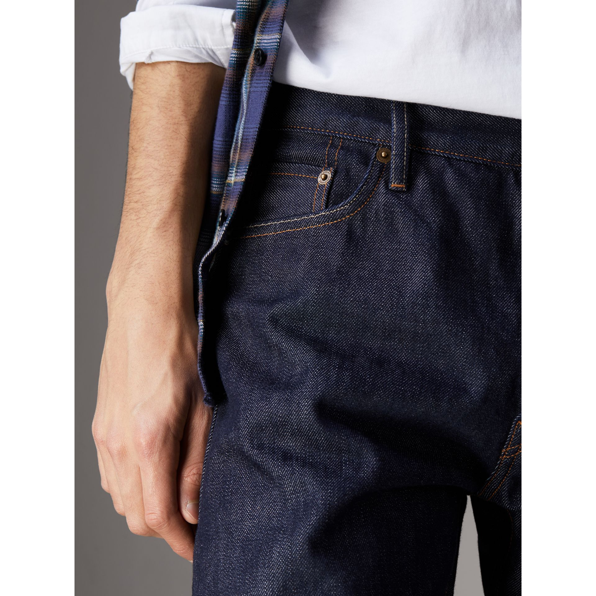 Relaxed Fit Japanese Selvedge Denim Jeans in Mid Indigo Blue - Men | Burberry - gallery image 1