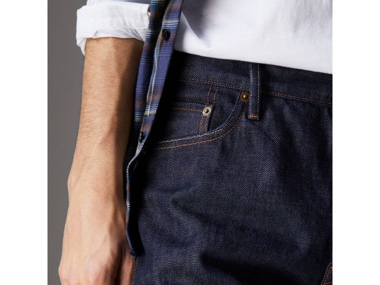 Relaxed Fit Japanese Selvedge Denim Jeans in Mid Indigo Blue - Men | Burberry United Kingdom - cell image 1
