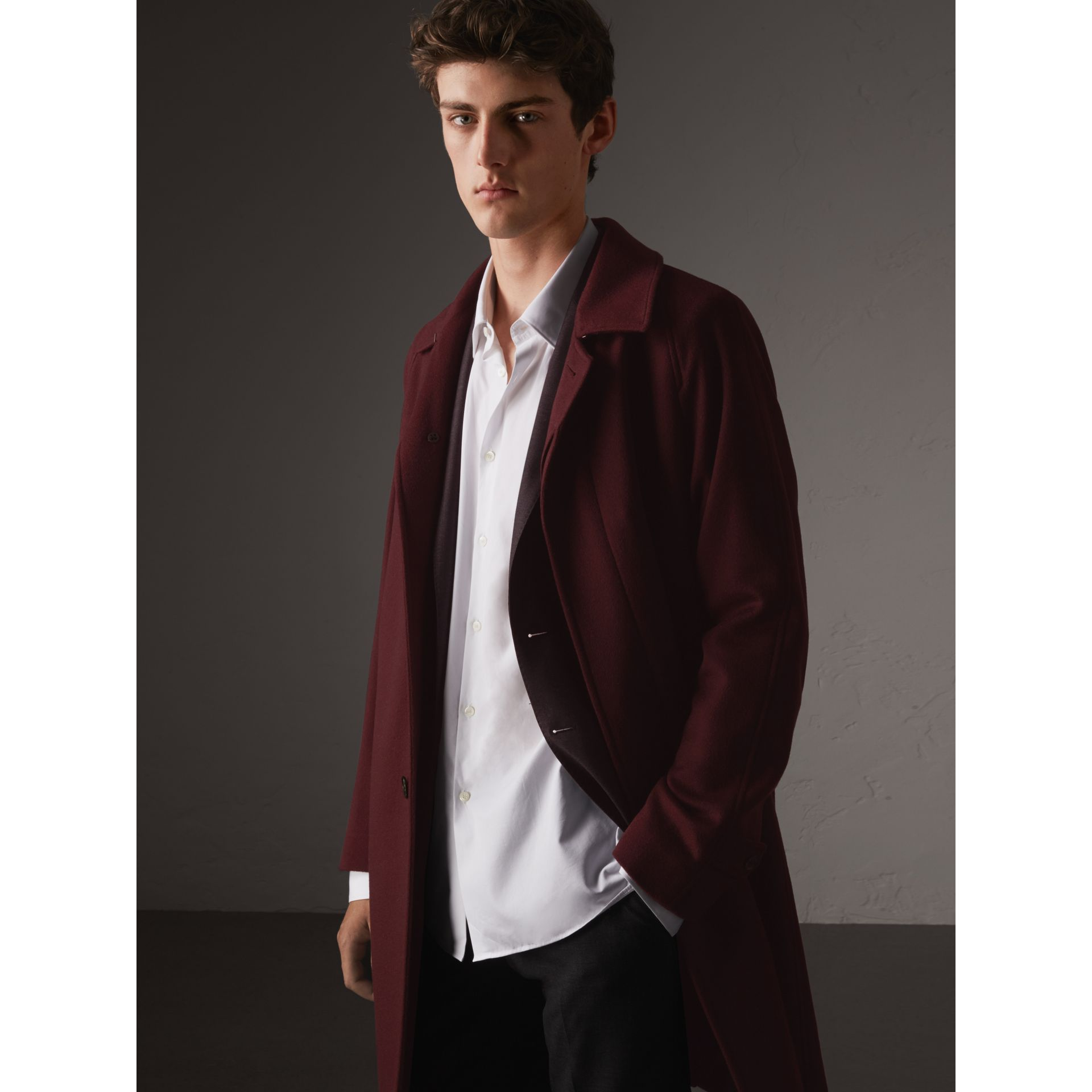 Cashmere Car Coat in Deep Claret Melange - Men | Burberry - gallery image 4