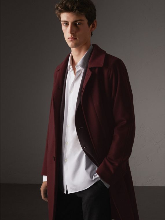 Car coat de cashmere (Claret Escuro Mesclado)