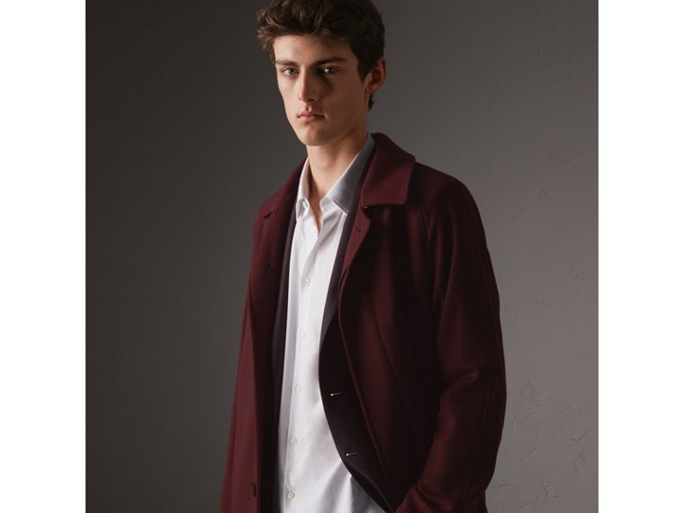 Cashmere Car Coat in Deep Claret Melange - Men | Burberry - cell image 4