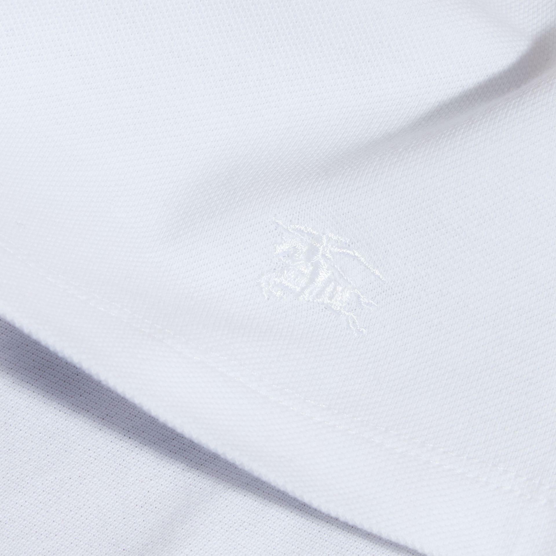 Check Collar Polo Shirt in White - Girl | Burberry - gallery image 2