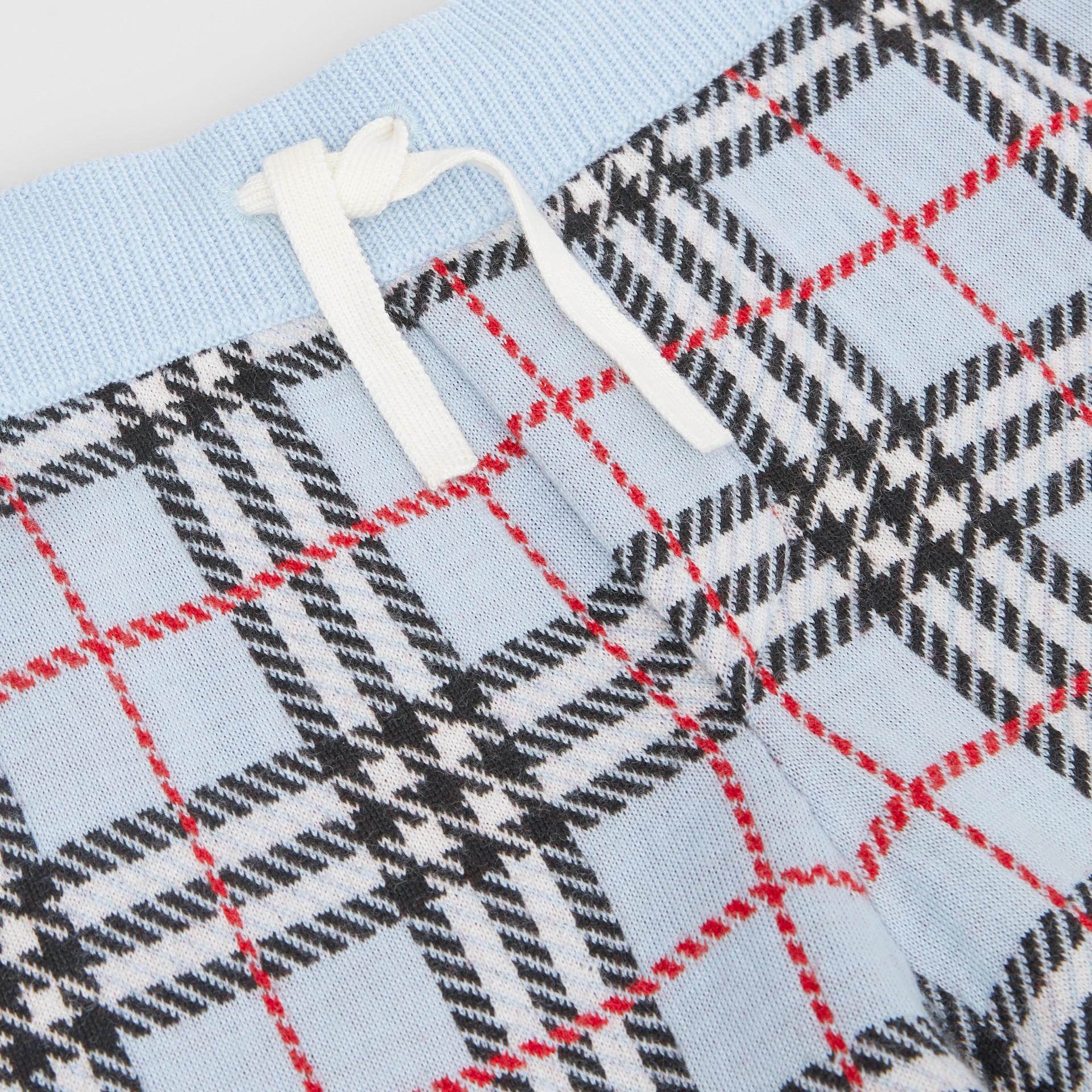 Short en jacquard de laine mérinos check (Bleu Pâle) | Burberry - photo de la galerie 1