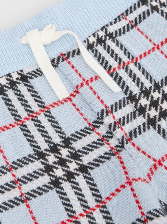 Short en jacquard de laine mérinos check (Bleu Pâle) | Burberry - cell image 1