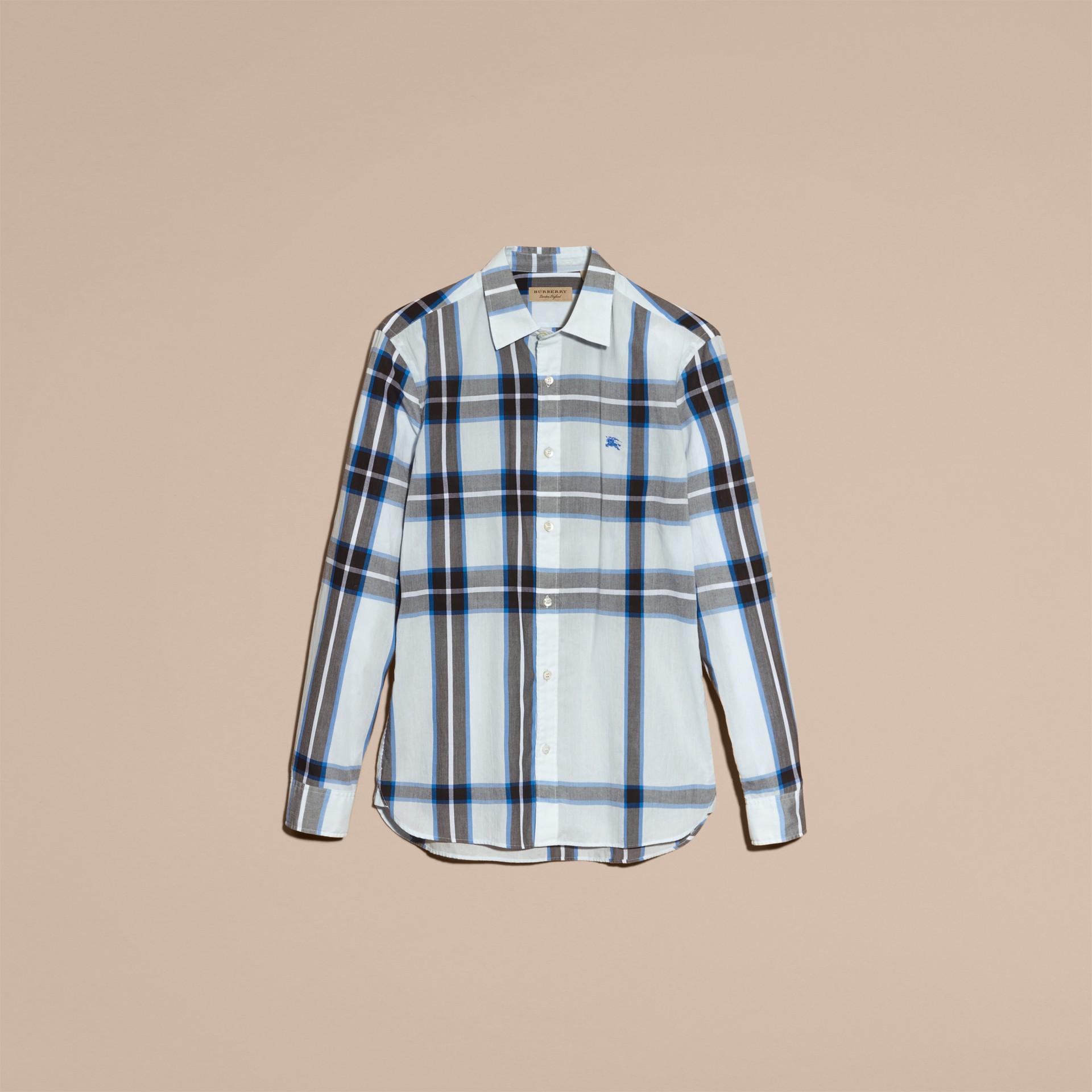 Check Cotton Shirt Light Blue - gallery image 4