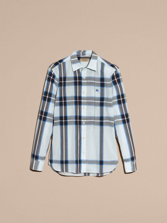 Check Cotton Shirt Light Blue - cell image 3